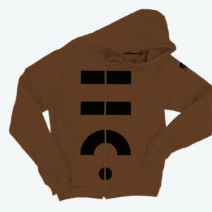 THCO Brown Vertical Zip Hoodie